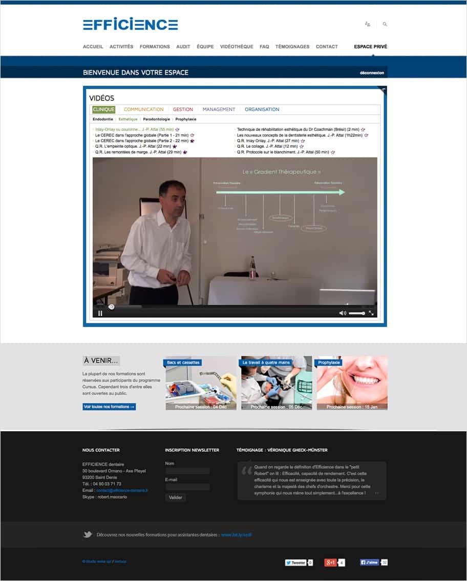 Navigation par tuile site internet d'Efficience dentaire