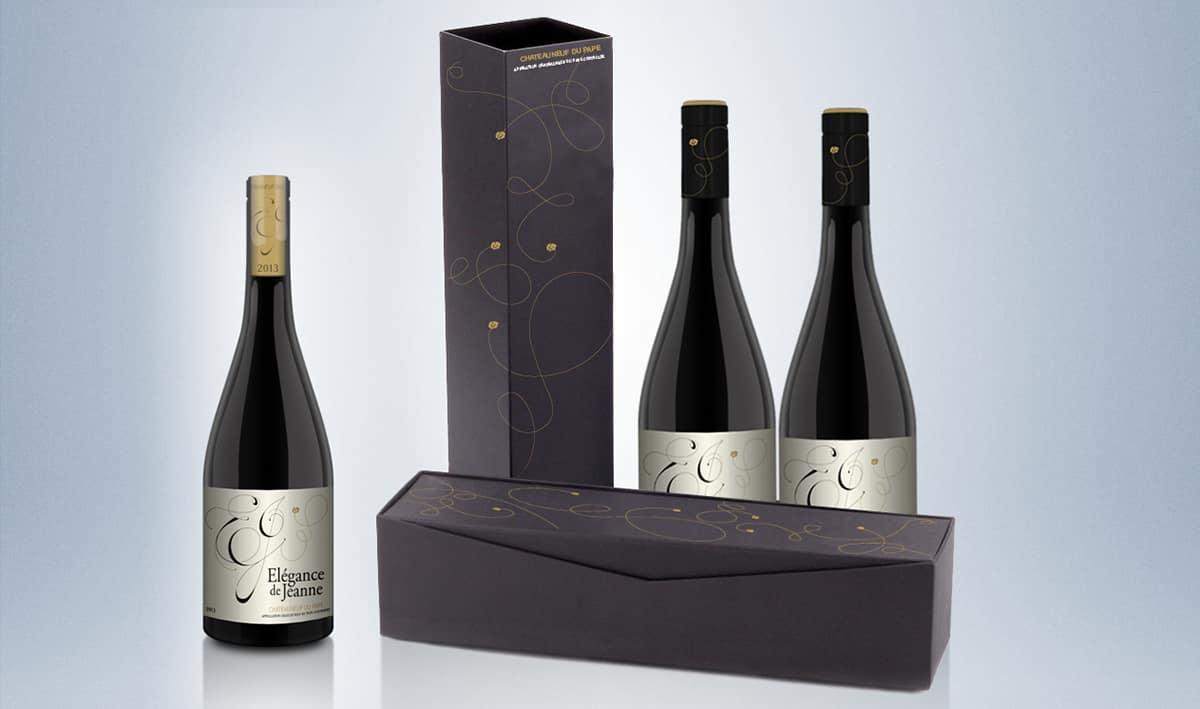 Emballage bouteille de vin Élégance de Jeanne