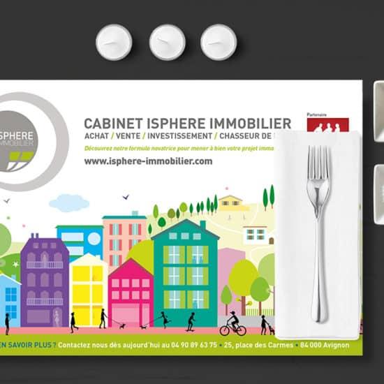 iSphere immobilier - set de table publicitaire