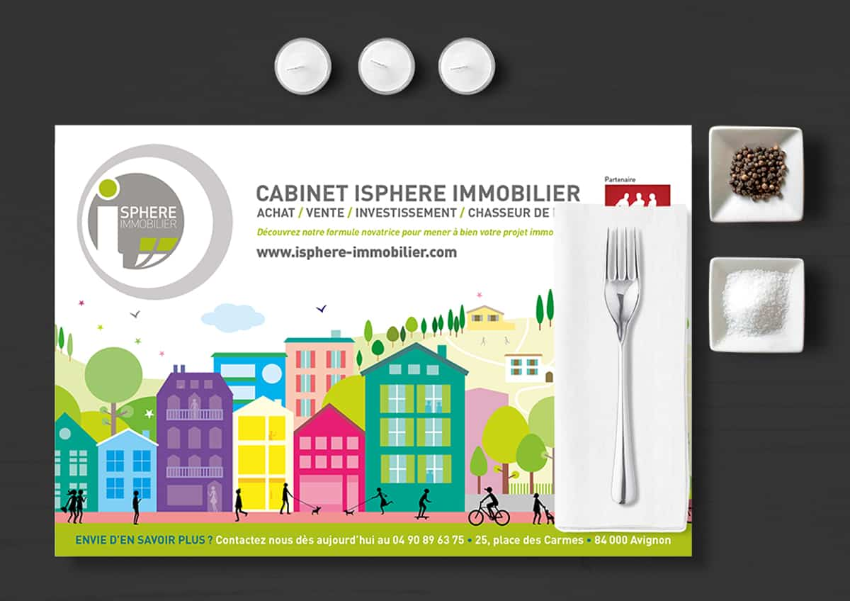 iSphere immobilier - set de table publicitaire